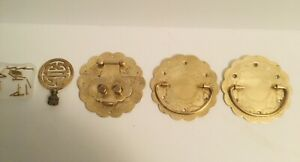 Vintage Chinese Solid Brass Drawer Pulls Hardware with brass nails & lamp finial