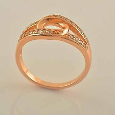 Unique 9K Rose Gold Filled CZ Womens Ring,size 7,P0317-B