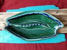 Banana Boat Ashtray CA Pottery Ceramic Retro Modern Mid Century Green Blue USA