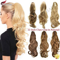 US Claw Clip in Ponytail Extension Wavy Long Hair Piece Pony Tail for Women 22""