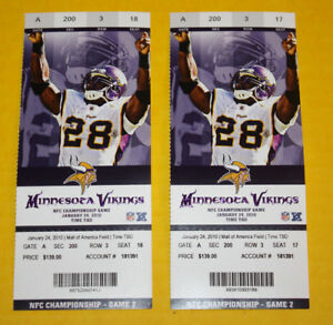 Minnesota Vikings Ticket Stub | January 24 2010 | Playoffs Phantom