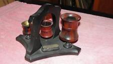 Vintage Wood Desk Top Smoking Stand Match Holder Cigarette Holder Match Striker