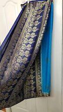 Blue saree sari satin with gold peacock print and blouse size 32