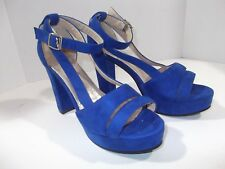 VERO CUOIO WOMENS Platform Shoes W/Ankle Strap~Bright Blue, EU Size 41 Italy