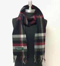 New 100% CASHMERE SCARF Scotland SOFT Wool Wrap Plaid Black / Wine / Gray