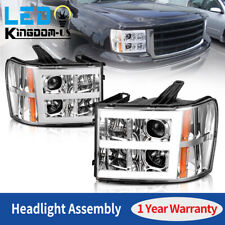For 2007-2013 Gmc Sierra 1500 2500 3500 Led Tube Projector Headlights Headlamps (Fits: Gmc)