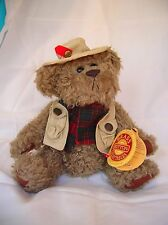 """Brass Button Collectable Bear-Dressed for Fishing-Tanner 11""""-1997-Bear of Health"""