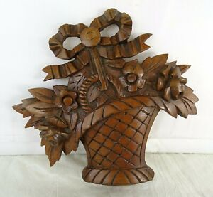 French Antique Hand Carved Cherry Wood Decorative Element Basket of Flowers