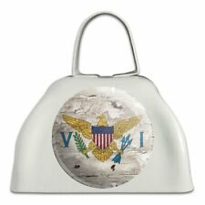Rustic Distressed Virgin Islands Flag White Metal Cowbell Cow Bell Instrument