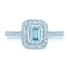 Emerald Cut Aquamarine Diamond Ring 14K White Gold Halo Womens Engagement