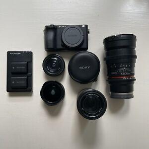 Sony Alpha A6500 Digital Camera W/ 3 Lenses, Fisheye Adapter, And 3 Batteries