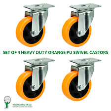 More details for 4 x heavy duty 75mm / 240kg orange pu wheel on swivel castors