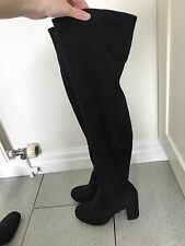 River Island Black Suede Knee High Boots Size 4