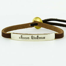 Leather Quote Bracelet Brown Leather Cuff Choose Kindness Far Fetched
