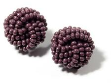 Pair Czech vintage beadwork cluster clip earrings lilac seed glass beads