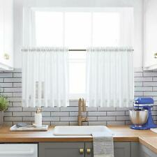 Kitchen Tiers Curtains for Bedroom Linen Textured Semi Sheer Window Curtain Pane