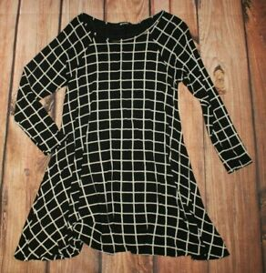 Missguided Ladies Casual Dress Tunic Lagenlook Dress Stretchy Black Jersey UK 14