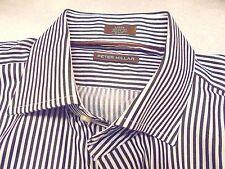 Peter Millar Pick Stitch Collection Spread Collar Striped Sport Shirt NWT $178