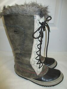 """Sorel """"Cate the Great"""" Women's Size 8 Waterproof Gray Lace-Up Leather Snow Boots"""