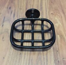 Vintage 1920s Black Enameled Porcelain Soap Dish / Wall Holder / Art Deco