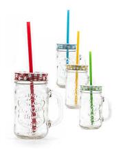 Partyglas Trinkglas mit Deckel und Strohhalm 450 ml 4er-Set V34818