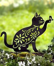 Cat Animal Silhouette Garden Stake Yard Art Lawn Outdoor Home Décor