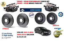 FOR VOLVO S40 2004-2013 FRONT REAR PERFORMANCE DRILLED BRAKE DISCS SET + PAD KIT