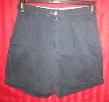 Women's Tommy Hilfiger Pleated Front Cuffed Bermuda Shorts Navy Size 6 Excellent