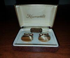 Vintage Krementz 14K Brushed Gold Overlay Cufflinks Original Box