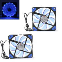 Quiet Edition CPU Cooler Blue 120mm DC 15 LED Cooling Case Fan for PC ComputerUS
