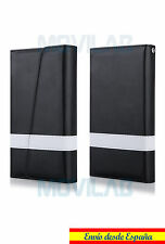Funda cartera piel tapa libro 2 en 1 gel TPU tarjetero Samsung Galaxy S6 negra