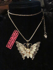 """BETSEY JOHNSON RHINESTONE CRYSTAL BEADS WHITE BUTTERFLY NECKLACE 28"""" CHAIN"""