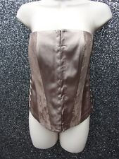 LADIES GOLD  SATIN EFFECT BASQUE RIBBON PANELS & LACE  NWT SIZE 12 BY LOOK