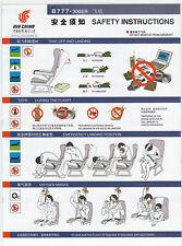 Safety Card AirChina B777-300er Boeing 777 Sammlerstück TOP