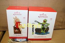 Hallmark Muppets Kermit the Frog Rainbow Connection & Miss Piggy Ornaments NIB