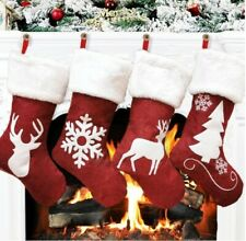 4 Christmas Stockings Red Hanging Xmas Gift Socks Bags - UK