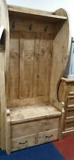 SOLID WOOD RUSTIC CHUNKY PLANK TALL MONKS BENCH , COST HOOKS, DRAWERS, SHELF