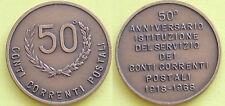 MEDAGLIA GETTONE 1918-->1968 ISTITUZIONE DEL SERVIZIO CONTI CORRENTI POSTALI 50°