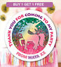 48 Birthday Party Bag Stickers Sweet cone Labels Unicorn Personalised
