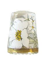 Fingerhut de vaso de cristal, con motivo estampado flor blanca y borde de oro-ae 738