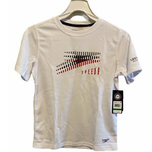 Speedo Boys' Slice & Dice Short Sleeve Swim Shirt Surf White L NWT NEW