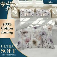 Watercolor Flower Floral Flowers Quilt Cover Set with Two Matching Pillowcases