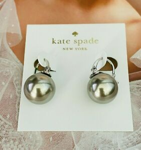 KATE SPADE GRAY CLASSIC PEARL STUD EARRINGS