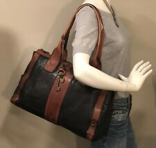 XLG FOSSIL Vntg Reissue Weekender Brown/Blk Leather Satchel Work Overnight Bag