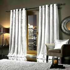 Designer FAUX VELVET Curtain Fully Lined Eyelet Ring Top Ready Made All Size