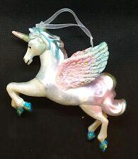 A129 Pink White Rainbow Pegasus Unicorn Glass Bauble Christmas Tree Ornament