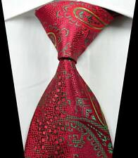 New Classic Paisleys Red Green Yellow JACQUARD WOVEN 100% Silk Men's Tie Necktie