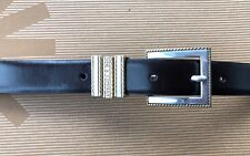 Nine & Company Brown Leather Belt 2 toned Buckle Size Large Fits 32 - 35 #3151