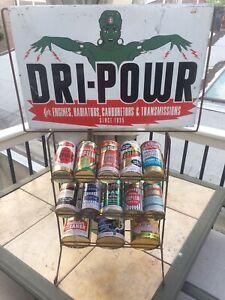 Vintage Dri Powr Power Genie Pint Quart Can Rack Sign Lot Stop Oil Dee Gum Oil