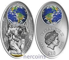 Fiji 2012 Mayan Calendar Atlas $10 Silver Coin with Colored Glass Insert
